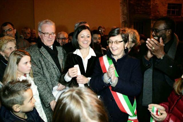 L'inaugurazione della mostra a Pontorme di Empoli: da sinistra Antonio Natali, la curatrice della mostra Cristina Gelli e il sindaco di Empoli Luciana Cappelli